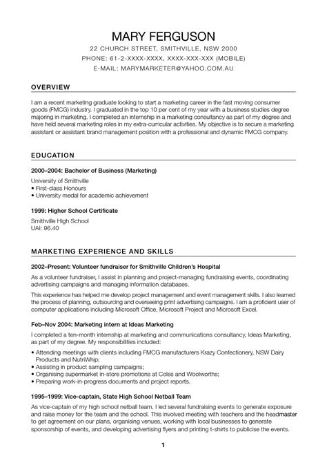 exles of resumes australia working resume sle template no work regarding 87