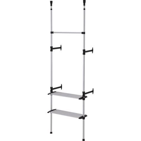 simple modern 2 tier telescopic clothes rack metallic