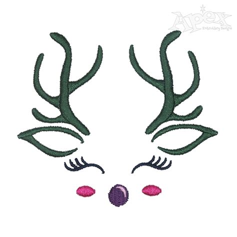 embroidery face reindeer embroidery design