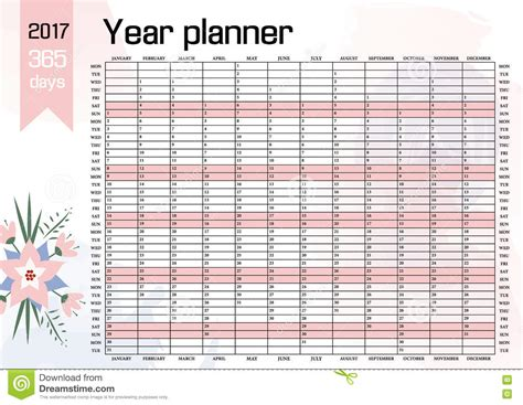 Year Wall Planner Plan Out Your Whole With This 2017 Yearly Calendar Template Vector Design Yearly Planner Template