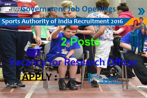 Sports Mba Programs In India by Research Officer Recruitment 2016 In Sports Authority Of