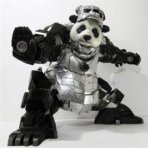 giant panda statue iron man armor protects china demilked
