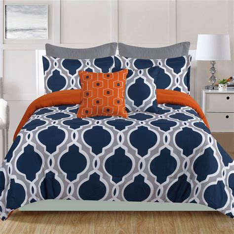 Navy Blue And Gray Bedding by Crest Home Westbury 7 Comforter Bedding