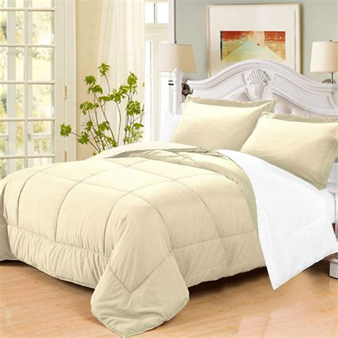 beige twin comforter 3 pc goose down alternative reversible comforter sham