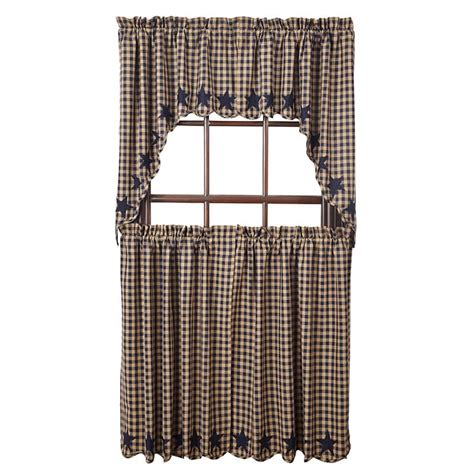 navy star curtains navy star scalloped curtain tiers 36 quot w x 36 quot l