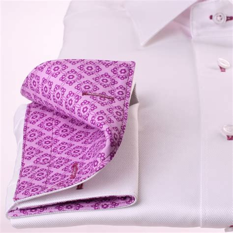 pattern for french cuff white french cuff shirt with lilac pattern collar and cuffs