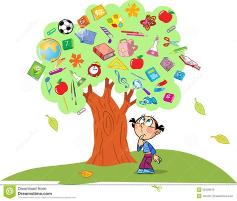 Children Knowledge tree of knowledge stock vector illustration of apple 32439976