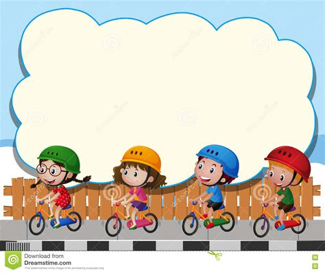 Border Clipart 1255757 Illustration By by Border Template With Four Bike Stock Vector