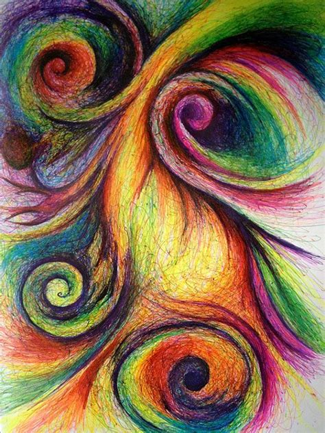 colorful drawings colorful abstract with swirls original drawing 9x12