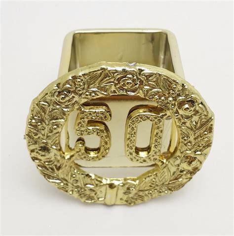 6 gold 50th anniversary reusable square plastic