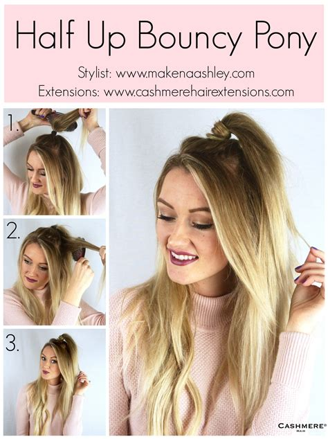 hair extensions hairstyles tutorial half up bouncy ponytail tutorial cashmere hair clip in
