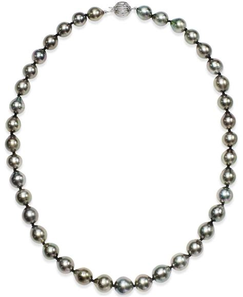 Pearl White Color Necklace macy s tahitian multi color pearl 9 11mm strand necklace in 14k white gold in metallic lyst