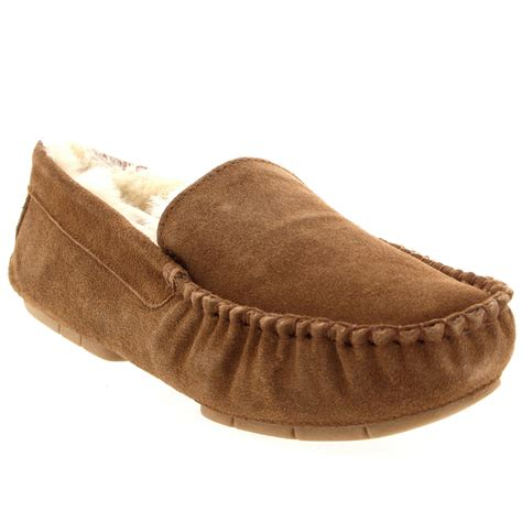 shearling moccasin slippers mens genuine australian fur sheepskin fur lined suede