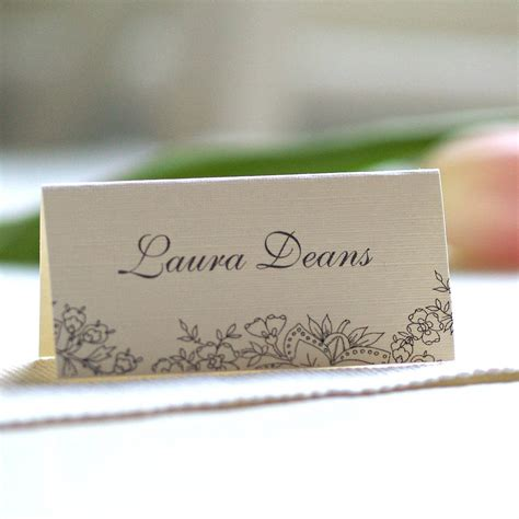 guest place card template personalised lace design name cards by beautiful day
