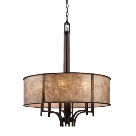six light chandelier with mica drum shade 15034 6 destination lighting