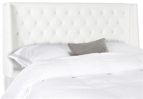 white tufted headboard with nailhead trim transitional london white tufted winged headboard flat nail heads