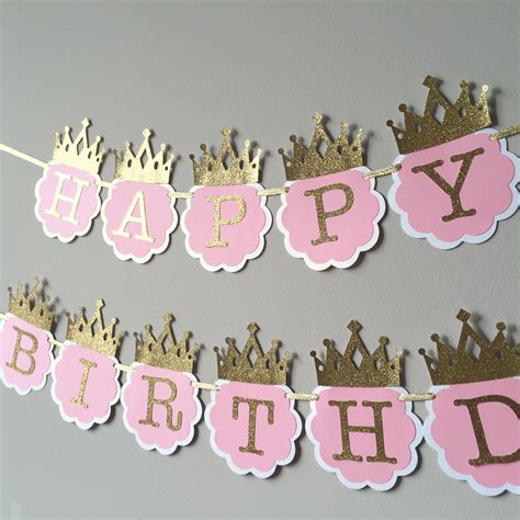 imagenes happy birthday princess sale pink and gold first birthday banner princess birthday