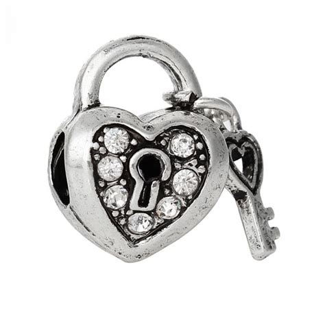 pattern lock new style 2015 new european style charm beads heart lock antique