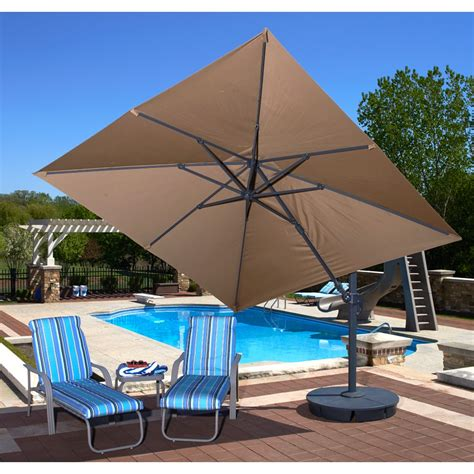 Square Cantilever Patio Umbrella Santorini Ii 10 Ft Square Cantilever Umbrella In Beige Sunbrella Cantilever Patio Umbrellas In