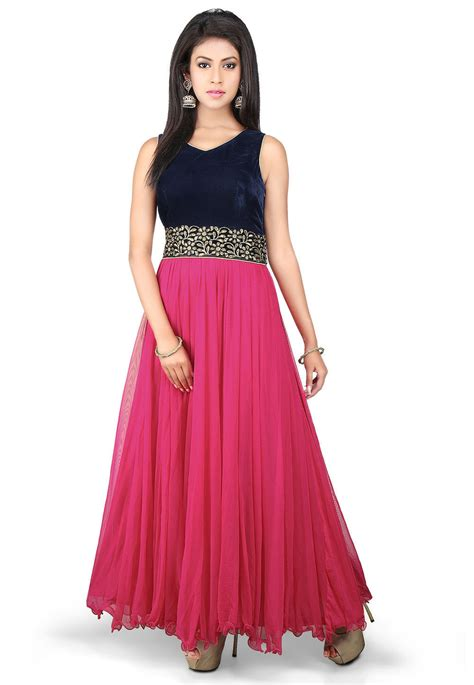 And Gown by Embroidered Net And Velvet Gown In Fuchsia And Navy Blue
