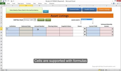 asset card template client asset data management tool in excel