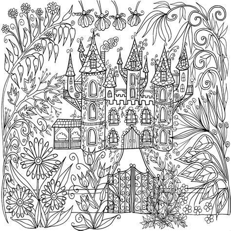 coloring castle mandala pages castle in flowers