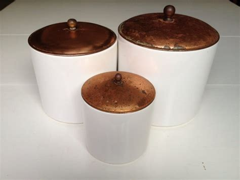 vintage copper and white kitchen canisters ceramic copper 17 best images about vintage copper plus on pinterest