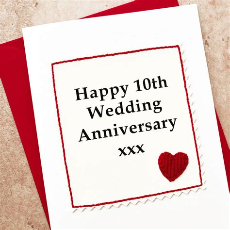 Wedding Anniversary 10th by Handmade 10th Wedding Anniversary Card By Arnott