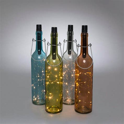 wine bottle battery operated lights gerson 93245 13 75 quot 3 assorted colors 3 clear glass