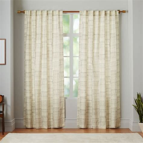 canvas curtain mid century cotton canvas etched grid curtains set of 2