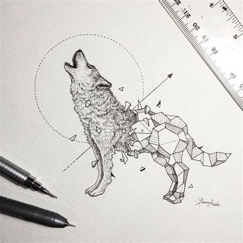 animal tattoo pen intricate drawings of wild animals fused with geometric