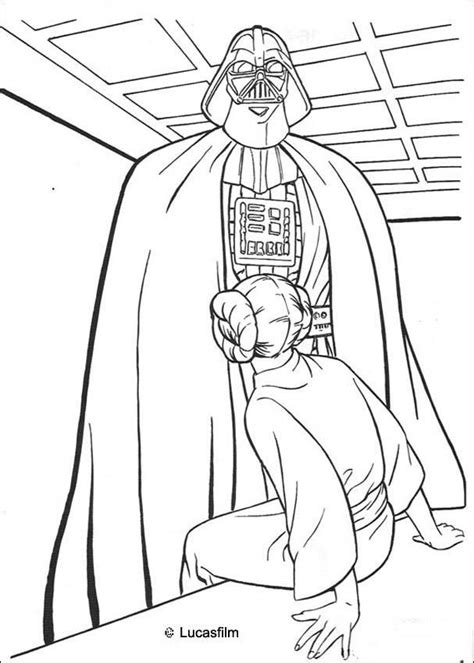 Darth Vader And Princess Leia Coloring Pages Hellokids Com Princess Leia Drawings Free Coloring Sheets