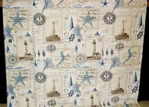 vintage nautical shower curtain nautical lighthouse fabric vintage postcard writing
