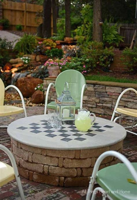 diy outdoor pit backyard pit cover table gameboard hometalk