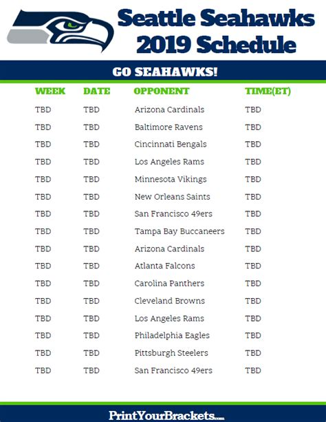 Printable Seahawks Schedule 2017