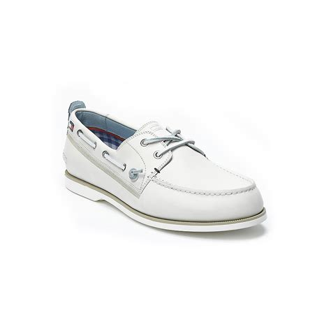white hilfiger shoes hilfiger leather boat shoe in white for lyst