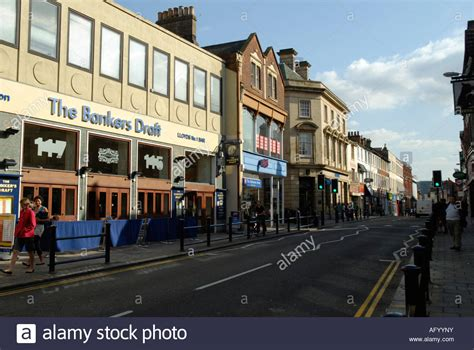 buy house in bedford uk view of bedford high street showing the banker s draft llyods no 1 stock photo