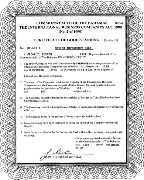 Certificate Of Letter Of Standing International Business Exle International Business Company