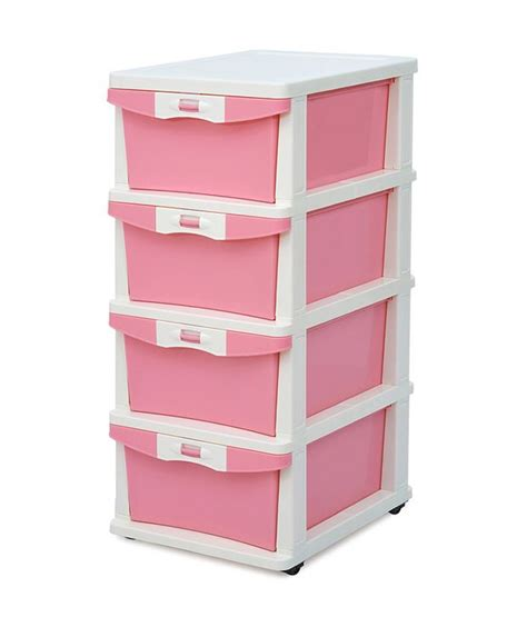 Plastic Kitchen Cabinet Drawers Chest Of 4 Drawers In Pink Buy Chest Of 4 Drawers In