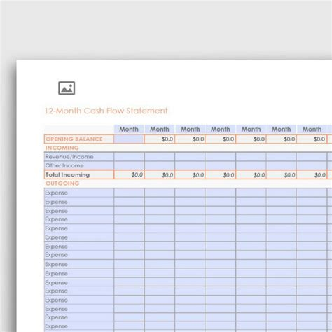 12 Month Cash Flow Statement Pdf Form Fully Editable Yvoxs 12 Month Flow Statement Template