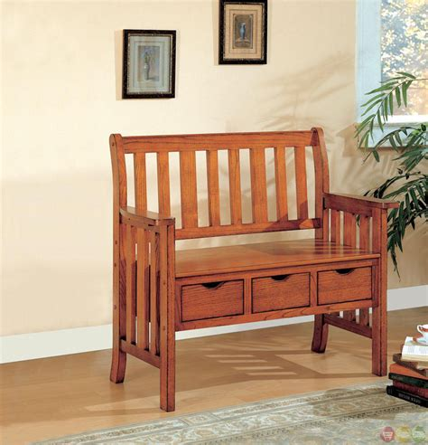 mission style storage bench mission style oak bench w 3 storage drawers wood back