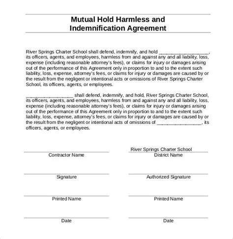 free hold harmless agreement template 30 sle hold harmless agreement templates to