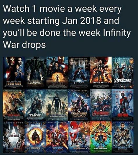 film one day a week watch 1 movie a week every week starting jan 2018 and you