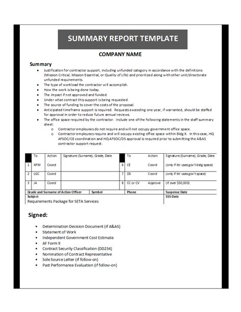 Summary Report Template by Free Printable Report Templates