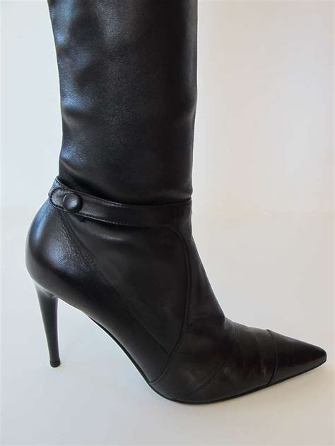 chanel black lambskin leather thigh high boots at 1stdibs