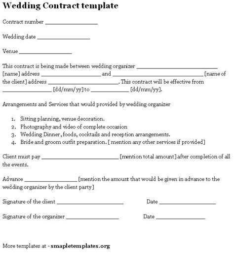 wedding contract template wedding contract template sle templates