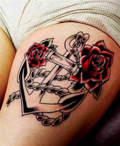 anchor and rose tattoo best thigh tattoos designs for collections
