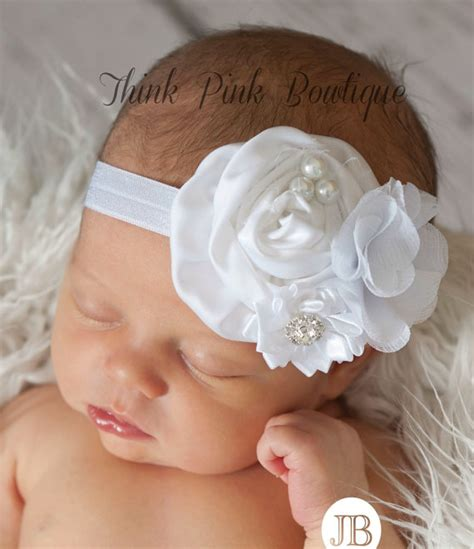 white headbandpink baby headbandchristening by thinkpinkbows white baby headband baby headbands christening by