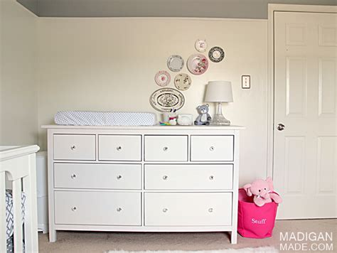 using a dresser as a changing table pink and grey nursery room reveal rosyscription