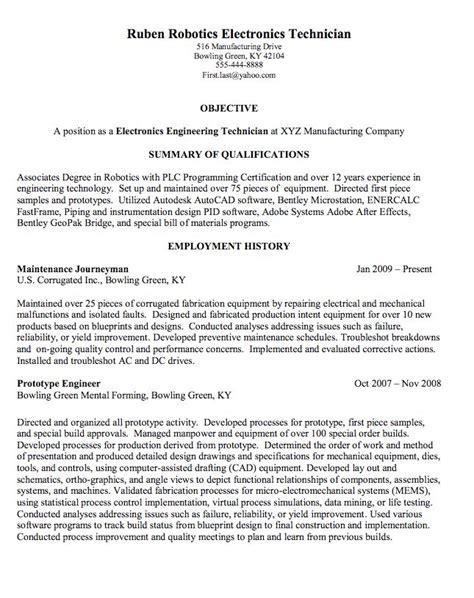 Electronic Technician Resume by Robotics Electronics Technician Sle Resume Http